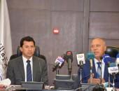 وزيرا الشباب والرياضة المصري ووزيرالنقل يشهدا المؤتمر الصحفي لمناقشة استعدادات إقامة بطولة Iron Man الدولية